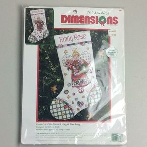 "New 1995 Dimensions 16"" Stocking Cross Stitch Kit"